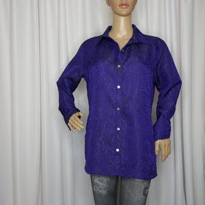 Chico's long sleeve paisley brocade button blouse